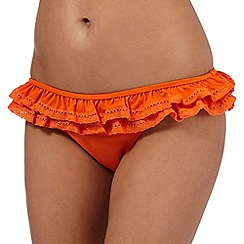 Red Herring - Orange ruffle bikini bottoms