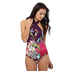Butterfly by Matthew Williamson - Purple 'Tigerlily' floral print swimsuit
