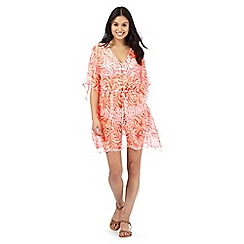 Beach Collection - Coral leaf print kaftan