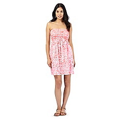 Beach Collection - Coral leaf print shirred dress