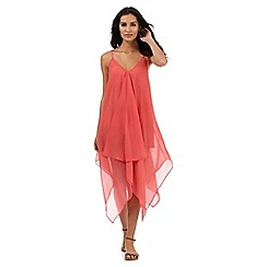 Beach Collection - Coral hanky hem maxi dress