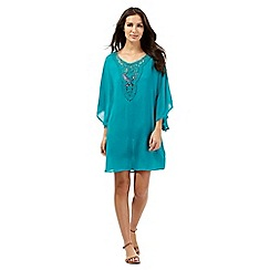 Butterfly by Matthew Williamson - Turquoise lace neck kaftan