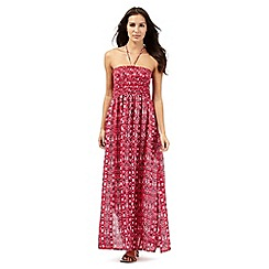 Butterfly by Matthew Williamson - Pink Aztec print strapless maxi dress