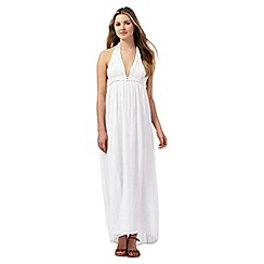 Red Herring - White textured Grecian maxi dress