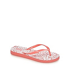 Beach Collection - Coral palm print flip flops