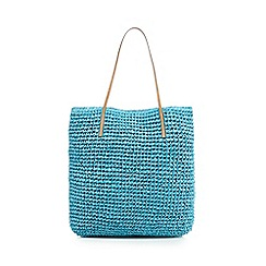 Beach Collection - Turquoise straw shopper bag