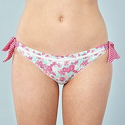 Floozie by Frost French - Designer pink floral bunny tie bikini bottoms