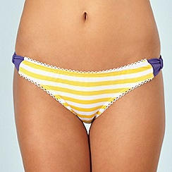 Floozie by Frost French - Yellow striped and bow trimmed bikini bottoms