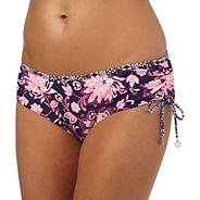 Navy paisley print ruched bikini bottoms
