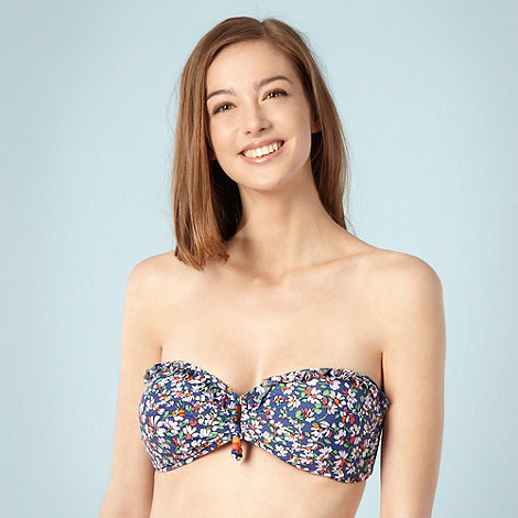 Floozie by Frost French - Navy sketched floral bandeau bikini top