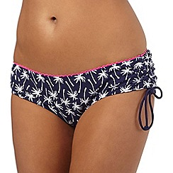 Mantaray - Navy palm tree print ruched bottoms