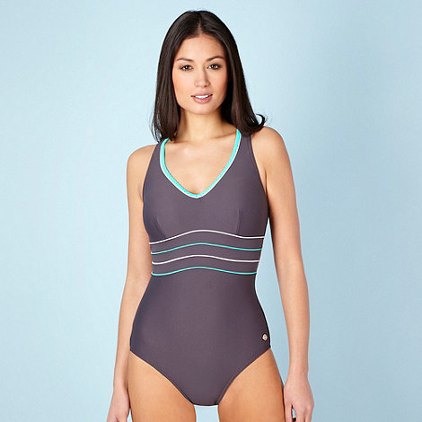 Maine New England - Grey piped padded bust swimsuit