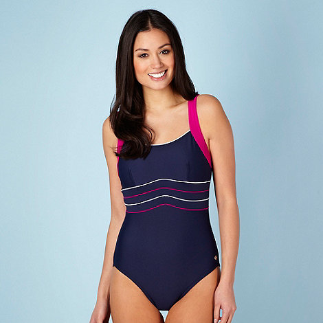 Maine New England - Navy piped empire line swimsuit