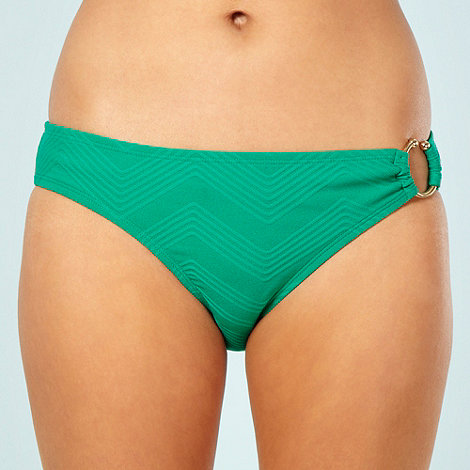 J by Jasper Conran - Designer green zigzag textured bikini bottoms