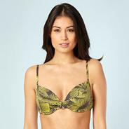 Dark Grey Palm Leaf Underwired Bikini Top