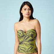 Grey palm leaf printed figure flattering tankini top