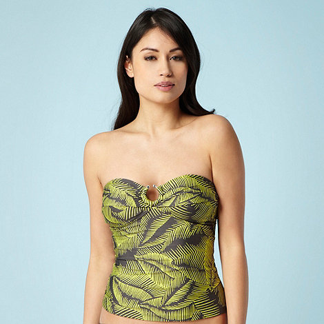 J by Jasper Conran - Grey palm leaf printed figure flattering tankini top