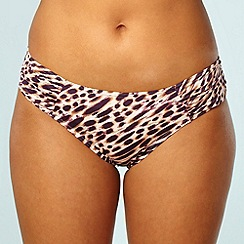 Gorgeous DD+ - Natural ruched leopard printed bikini bottoms