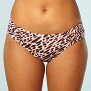 Natural ruched leopard printed bikini bottoms