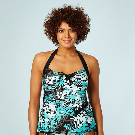 Gorgeous DD+ - Black graduating floral supportive tankini top