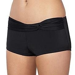 Beach Collection - Black twist front bikini shorts