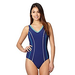 Beach Collection - Navy tipped tummy control longer length swimsuit