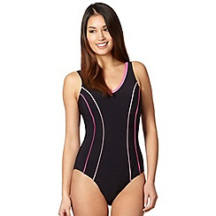Beach Collection - Black tipped tummy control longer length swimsuit