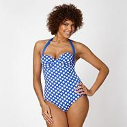 Blue figure flattering polka dot swimsuit