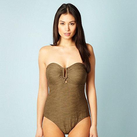 Beach Collection - Khaki textured bandeau swimsuit