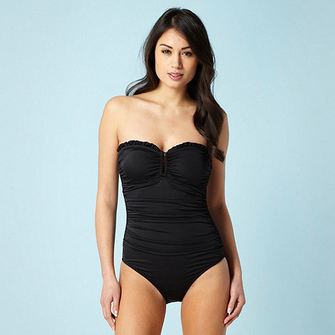 Beach Collection - Black frilly trimmed bandeau swimsuit