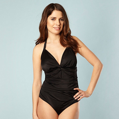 Beach Collection - Black twist front figure flattering swimsuit