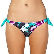 Dark Grey Vintage Flower Tie Side Bikini Bottoms