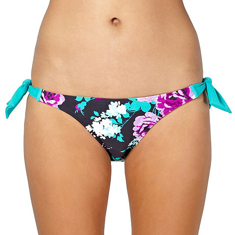 Beach Collection - Dark grey vintage flower tie side bikini bottoms