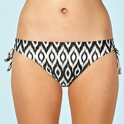 Beach Collection - Khaki ikat printed ruched-side bikini bottoms