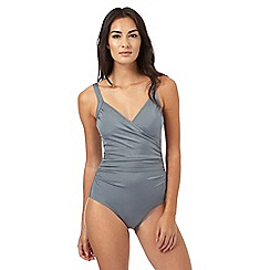 Beach Collection - Grey wrap tummy control swimsuit