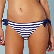 Blue striped bunny tie bikini bottoms