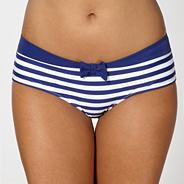 Blue striped hipster bikini shorts