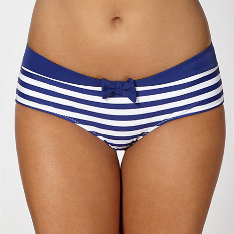 Ultimate Beach - Blue striped hipster bikini shorts