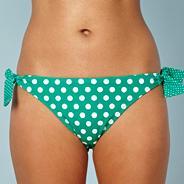 Green polka dot print bikini bottoms