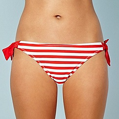 Ultimate Beach - Red striped bunny tie side bikini bottoms