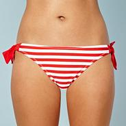 Red striped bunny tie side bikini bottoms
