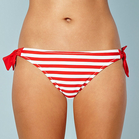 Ultimate Beach - Red striped bunny tie side bikini bottoms