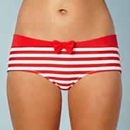 Red striped bow hipster bikini bottoms
