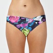 Designer grey floral twist bikini bottoms