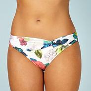 Designer white floral twist bikini bottoms