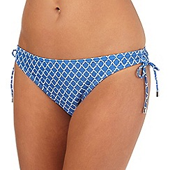 Beach Collection - Blue tile print bikini bottoms