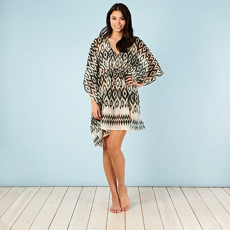 Beach Collection - Khaki ikat printed kaftan