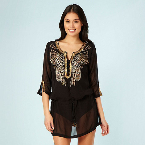 Beach Collection - Black bead embellished kaftan