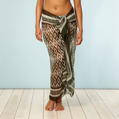 Beach Collection - Khaki ikat patterned sarong