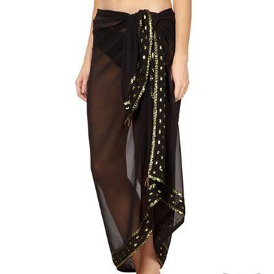 Beach Collection Black embroidered sarong - . -